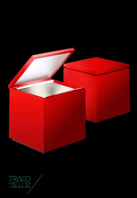 Cuboluce vermelho, candeeiro de mesa da marca Cini&Nils, na Traço de Luz iluminação, Portugal