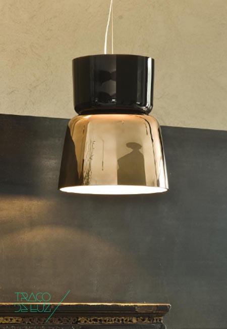 Bloom S5 cobre e preto, candeeiro de teto ou suspensão da marca Prandina, na Traço de Luz